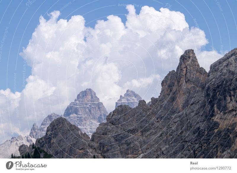 Wolken und Felsen Umwelt Natur Landschaft Urelemente Himmel Sommer Schönes Wetter Alpen Berge u. Gebirge Dolomiten Südtirol Drei Zinnen Gipfel Steilwand Stein