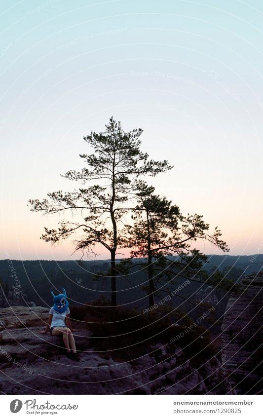 Sandsteinhocker blau Baum Freude feminin Kunst Felsen sitzen ästhetisch Körperhaltung Fernweh Maske Kunstwerk Tourist Kostüm Karnevalskostüm Monster