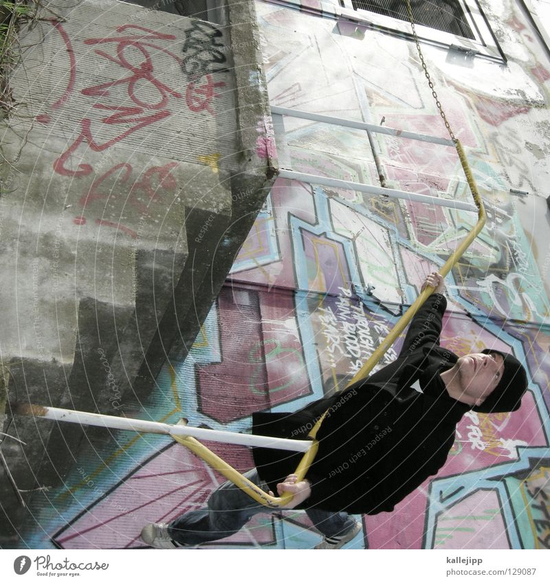 bauchschmerzen Mann Silhouette Dieb Krimineller Rampe Laderampe Fußgänger Schacht Tunnel Untergrund Ausbruch Flucht umfallen Fenster Parkhaus Geometrie