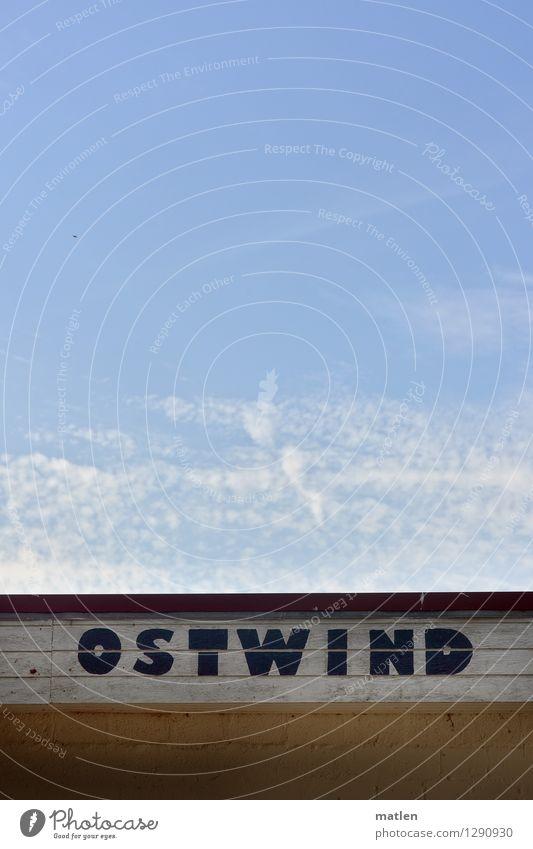 sometimes Himmel Wolken Sommer Wetter Schönes Wetter Menschenleer Mauer Wand frisch blau braun gelb weiß Ostwind Schriftstück Farbfoto Gedeckte Farben
