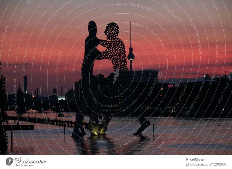 Berlin Ferien & Urlaub & Reisen rot Landschaft Architektur Gebäude Kunst Stimmung Tourismus ästhetisch Ausflug Bauwerk trendy Flussufer Hauptstadt Skulptur