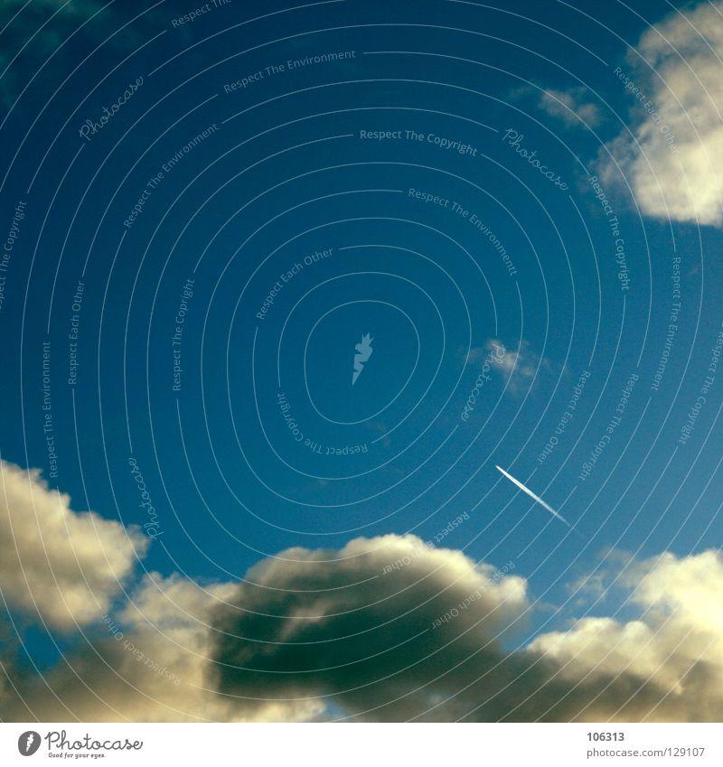 STARTUP Himmelskörper & Weltall Beginn Flugzeug Fluggerät Schwanz Wolken weiß gelb Düsenjäger Komet fliegen streben fleißig Sternschnuppe UFO Sturzbach Lampe