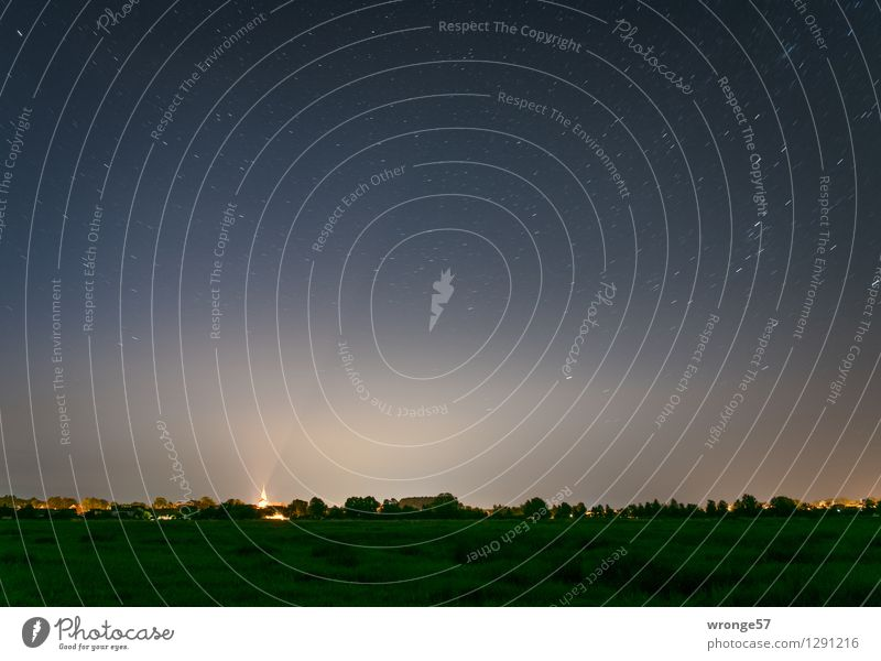 Über Schwaan da funkeln Sterne I Umwelt Landschaft Erde Luft Himmel Nachthimmel Horizont Sommer Schönes Wetter Baum Gras Wiese Deutschland