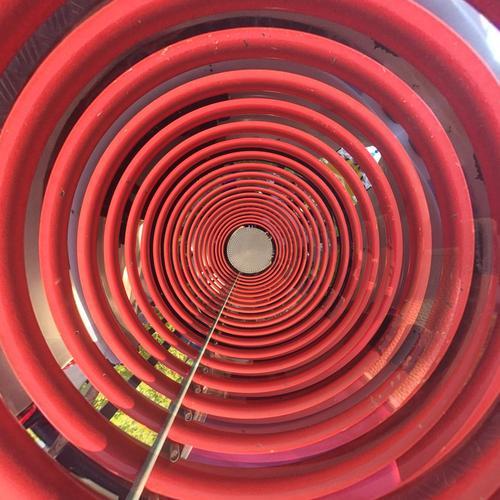 Rotkreis Design Technik & Technologie Energiewirtschaft Erneuerbare Energie Industrie Kunst Kunstwerk Metall Linie Netzwerk Bewegung Inspiration Stadt schwingen