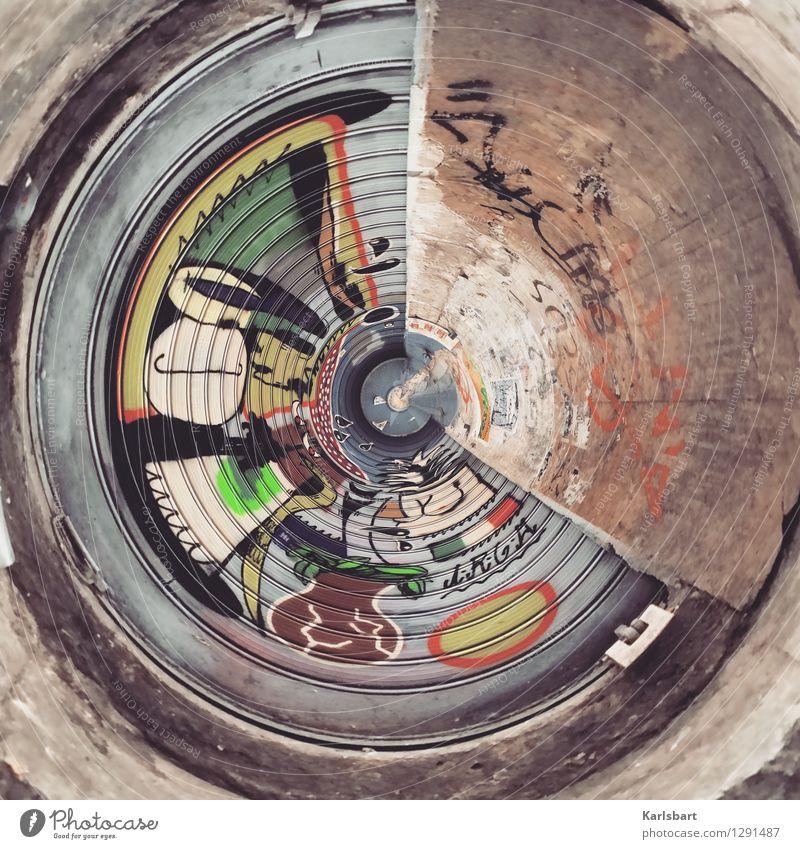 Mauerwerk Lifestyle Stil Design Entertainment Industrie Kunst Kunstwerk Graffiti Grafische Darstellung Stadt Stadtrand Haus Fabrik Ruine Platz Tunnel Bauwerk