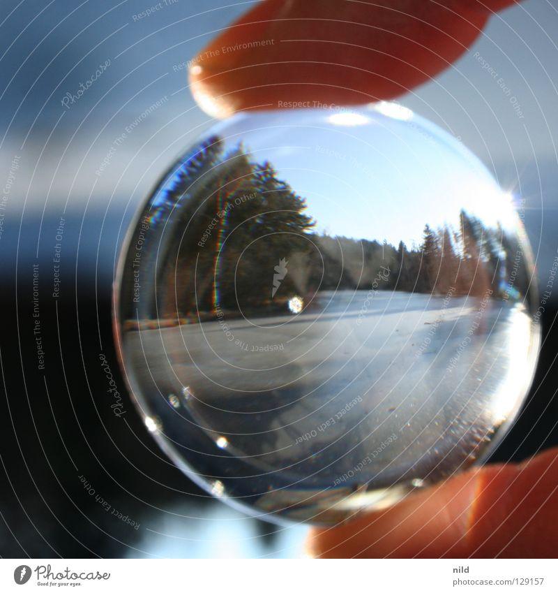 Linse vor der Linse 1 Natur schön Sonne Winter Einsamkeit Wald kalt Landschaft See Eis Glas Hintergrundbild Makroaufnahme Kreis rund einfach