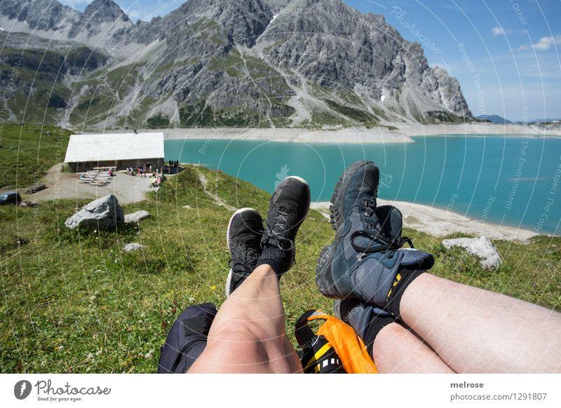 Idylle III Frau Himmel Natur Mann blau grün schön Sommer Erholung Landschaft ruhig Wolken Erwachsene Berge u. Gebirge See liegen