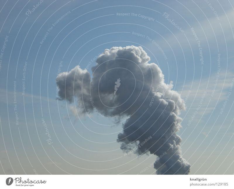 Flaschengeist Rauch Wasserdampf weiß Wolken Aggregatzustand aufsteigen Himmel blau Hochsteigen