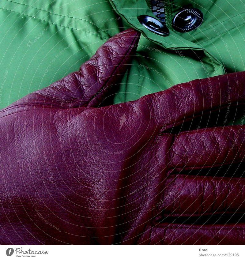 Kontrastmittel (II) grün rot Herz Kunst Bekleidung Schutz festhalten Jacke Leder edel Handschuhe bedecken Kunsthandwerk Aubergine Farbkombination