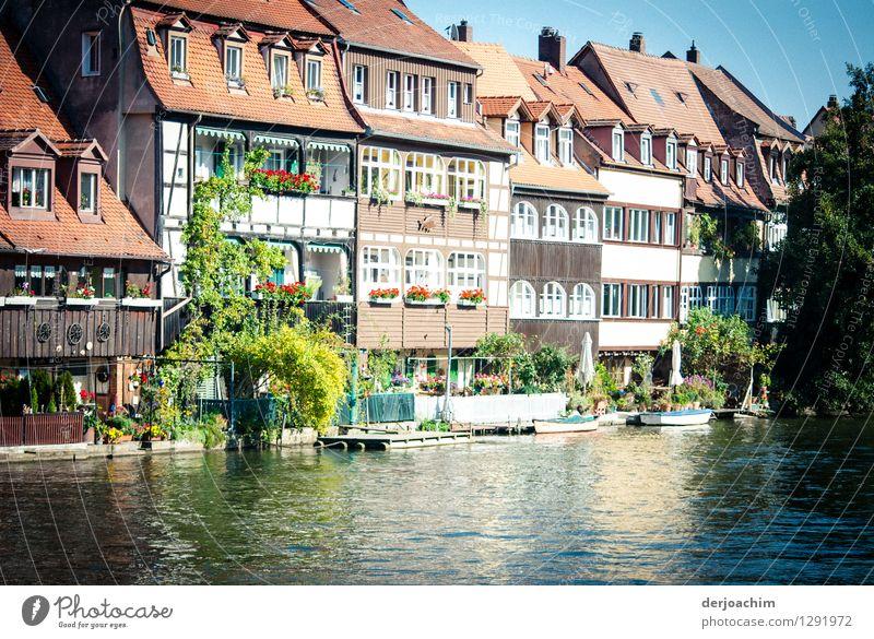 Klein Venedig Design harmonisch Ausflug Häusliches Leben Umwelt Wasser Sommer Schönes Wetter Flussufer Bamberg Bayern Deutschland Altstadt Haus Flußbett Stein