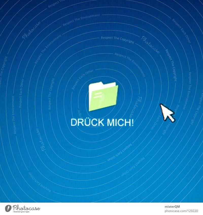wICON - Drueck mich blau Erde Arbeit & Erwerbstätigkeit Informationstechnologie modern neu Schreibtisch Kreativität Medien Idee Versuch Aktenordner Arbeitsplatz