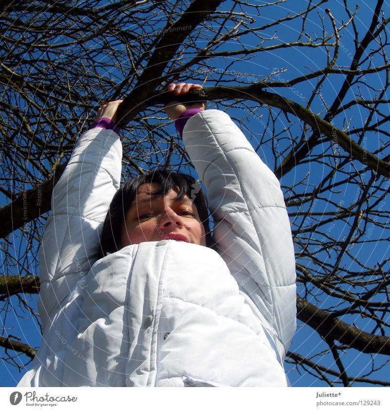 Frauen wollen hoch hinaus! Himmel weiß Baum blau Freude Winter schwarz lachen Haare & Frisuren Klettern Ast festhalten Jacke