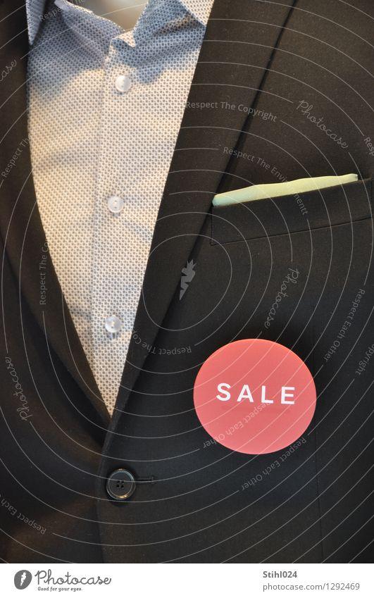 SALE kaufen elegant Stil maskulin Oberkörper 1 Mensch Mode Hemd Anzug Kragen Einstecktuch Zettel modern blau rot schwarz Lebensfreude eitel sparen Sonderangebot