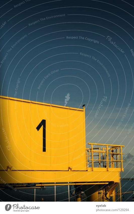 Ne glatte 1 Ziffern & Zahlen Typographie Stahl gelb See Meer Wellen Wolken Anlegestelle Sicherheit Maschine Fähre Festmacher Dalben Hafen Wasserfahrzeug Verkehr