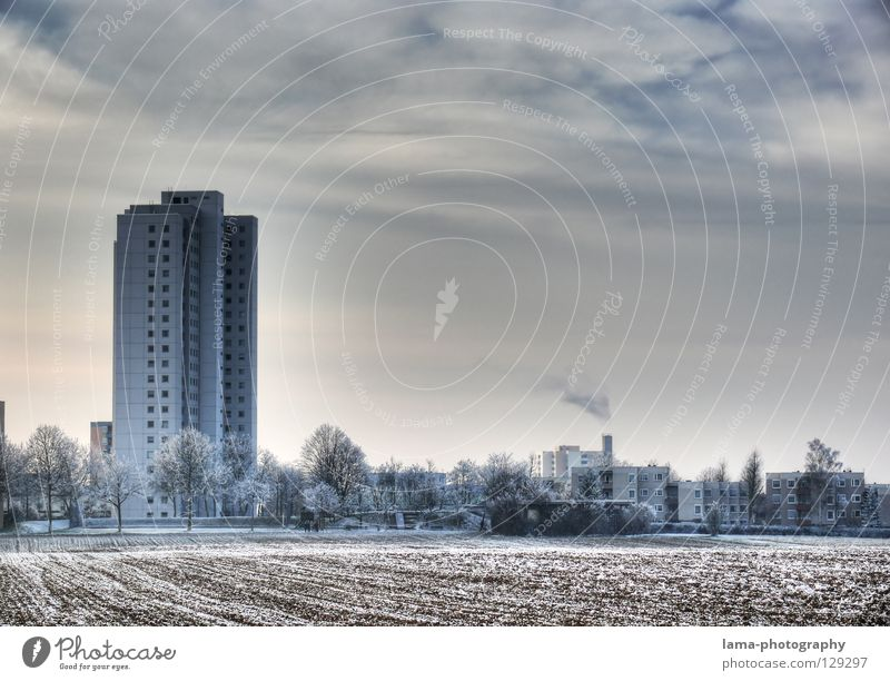 Suburbia Natur Baum Stadt Winter Haus kalt Schnee Park Eis Feld Wohnung Umwelt Hochhaus Aussicht
