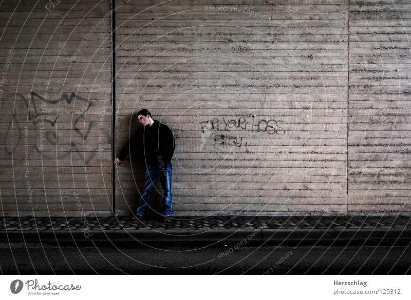 Behind the Wall Wand Mauer Angst Erfolg Suche gefährlich Riss Fragen rückwärts ungewiss