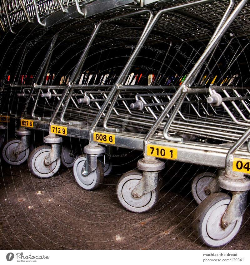 LET'S GO SHOPING Supermarkt Ladengeschäft Wagen Ware Karre mehrere abholen bereit unbenutzt gebrauchen praktisch Führerschein Griff Stoff Material weiß rot