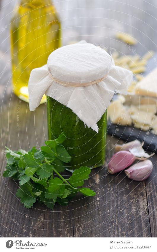 Pesto selbstgemacht 2 Lebensmittel Kräuter & Gewürze Ernährung Mittagessen Bioprodukte Vegetarische Ernährung Slowfood Italienische Küche Duft lecker Petersilie
