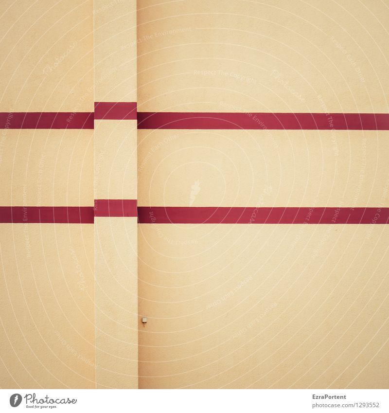 Absatz Farbe rot Haus gelb Wand Gebäude Hintergrundbild Mauer Linie Fassade Design Textfreiraum ästhetisch Beton Ecke Streifen