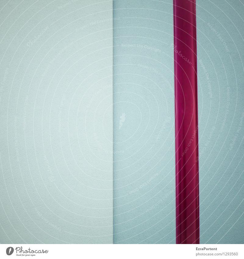 | | Haus Bauwerk Gebäude Mauer Wand Fassade Beton Metall Linie Streifen blau rot Design Farbe Stab Strukturen & Formen geteilt Trennung Grafik u. Illustration