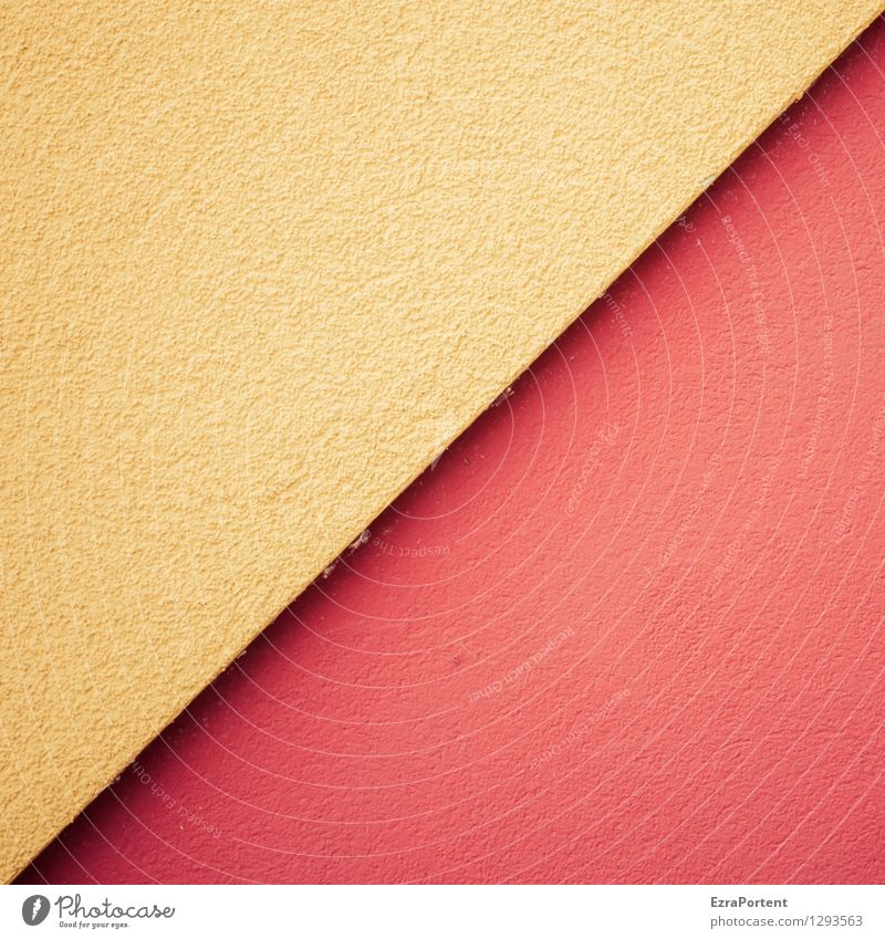/ Haus Bauwerk Gebäude Mauer Wand Fassade Beton Linie ästhetisch eckig gelb rot Design Farbe Textfreiraum diagonal Grafik u. Illustration Grafische Darstellung