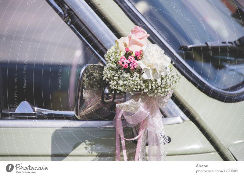 0815 AST   Sträußerl Feste & Feiern Hochzeit Verkehrsmittel PKW Oldtimer Hochzeitsauto Brautauto Dekoration & Verzierung Blumenstrauß blumenschmuck Schleife