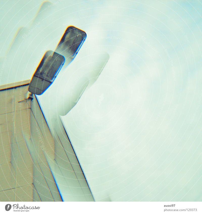 Doppelscheinwerfer Beleuchtung Hochhaus Dach Technik & Technologie Etage Doppelbelichtung Surrealismus seltsam Scheinwerfer Smog Prisma Penthouse