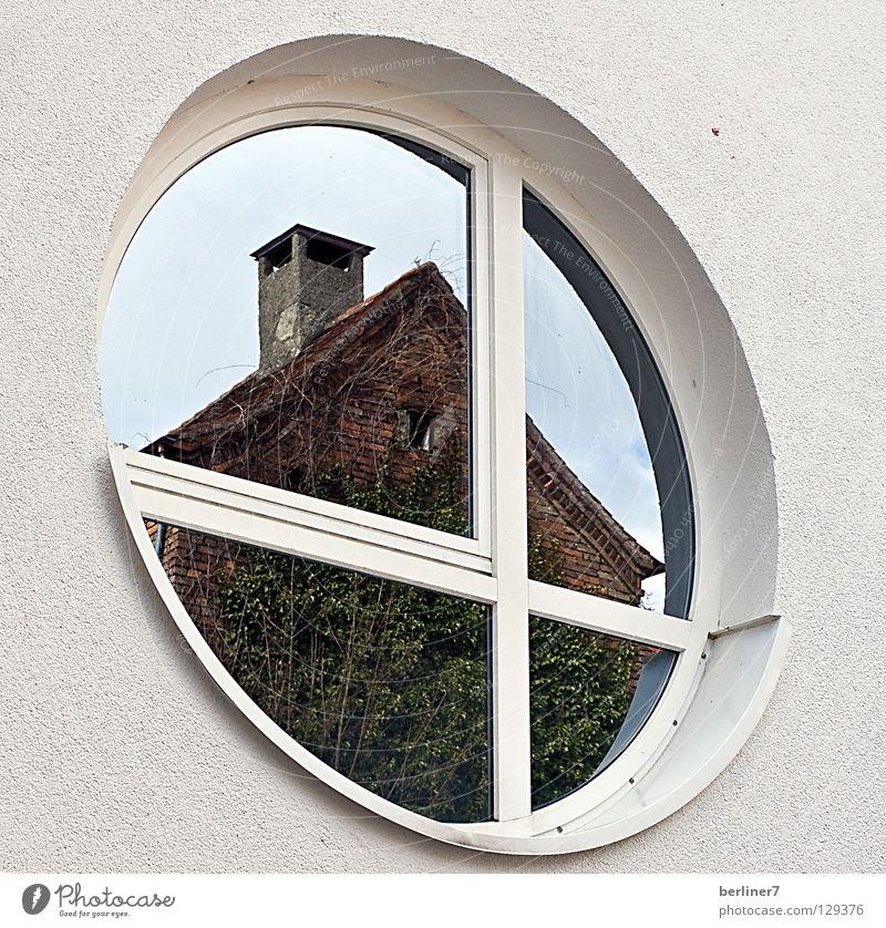 Das Eckige muss ins Runde rund eckig Fenster Rundfenster Reflexion & Spiegelung Haus Hausmauer weiß Efeu Fassade Detailaufnahme Glas Schornstein