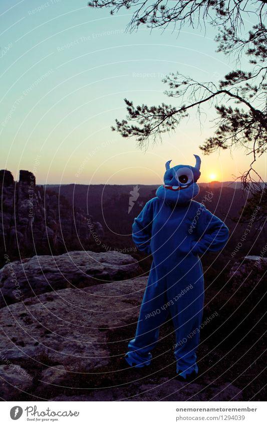 waiting Mensch blau schön Sonne Erholung Freude Stil Lifestyle Kunst Mode Felsen elegant stehen ästhetisch warten Bekleidung