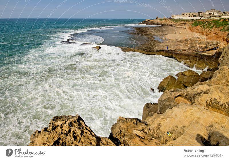 der Atlantik trifft Marokko I Umwelt Natur Landschaft Pflanze Sand Wasser Himmel Horizont Sommer Wetter Schönes Wetter Felsen Wellen Küste Meer Rabat Stadt