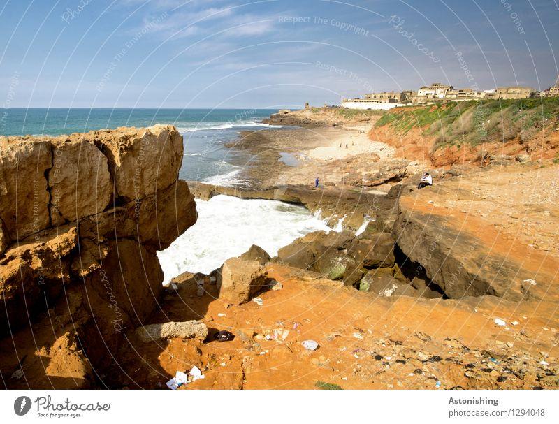 der Atlantik trifft Marokko II Umwelt Natur Landschaft Pflanze Sand Wasser Himmel Horizont Sommer Wetter Schönes Wetter Gras Felsen Wellen Küste Meer Rabat