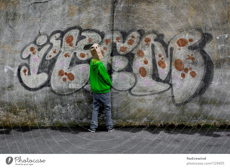 Erwischt Jugendliche grün Freude Graffiti Maske Selbstportrait Wandmalereien Mensch