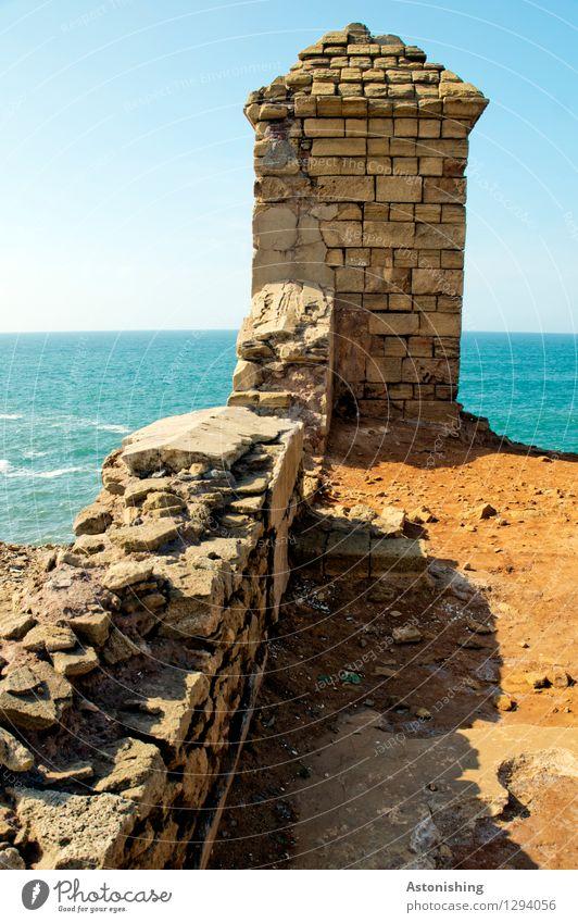 alte Befestigungsmauer Umwelt Natur Landschaft Himmel Wolkenloser Himmel Horizont Sommer Wellen Küste Meer Atlantik Rabat Marokko Ruine Turm Bauwerk Mauer Wand