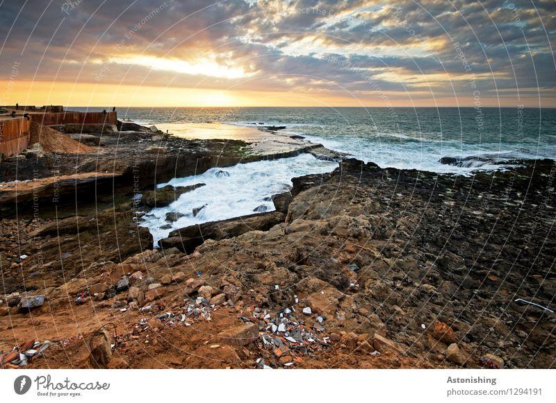 bewegtes Meer Umwelt Natur Landschaft Wasser Himmel Wolken Horizont Sonne Sonnenaufgang Sonnenuntergang Sonnenlicht Sommer Wetter Schönes Wetter Felsen Wellen