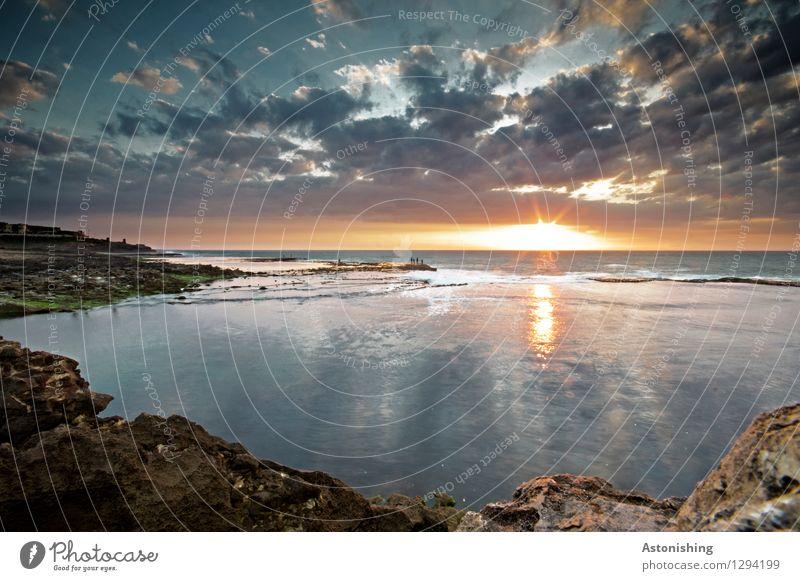 die letzten Sekunden des Tages Umwelt Natur Landschaft Urelemente Sand Wasser Himmel Wolken Horizont Sonne Sonnenaufgang Sonnenuntergang Sonnenlicht Sommer