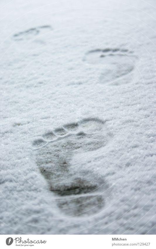 Spuren hinterlassen weiß Winter Einsamkeit kalt Schnee Schuhe wandern Armut laufen Vergänglichkeit vorwärts 5 frieren Fußspur Zehen