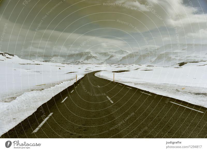 Island Himmel Natur Ferien & Urlaub & Reisen Landschaft ruhig Wolken kalt Berge u. Gebirge Umwelt Straße Wege & Pfade natürlich Schnee wild Eis Klima