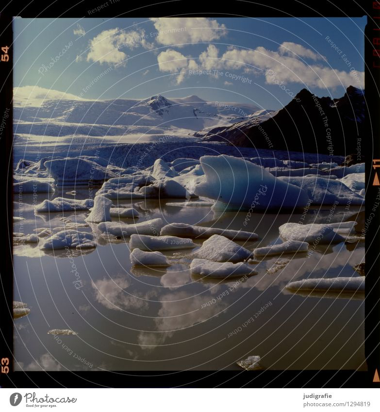 Island Umwelt Natur Landschaft Wasser Himmel Wolken Klima Klimawandel Wetter Schönes Wetter Eis Frost Gletscher See Fjallsarlon außergewöhnlich kalt wild