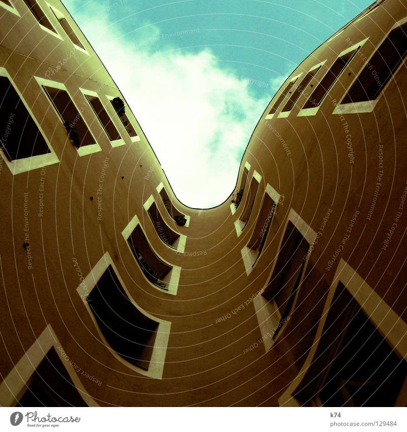 Hinweis zum quadratischen Bildformat Himmel Stadt Wolken Straße Fenster Freiheit Angst ästhetisch rund Quadrat Dienstleistungsgewerbe Meinung Panik