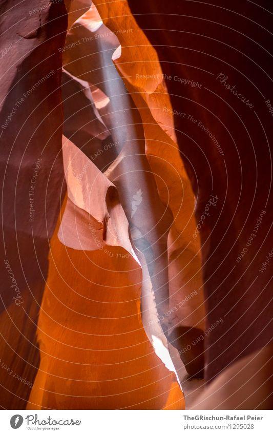 Lichtstrahl Umwelt Natur Landschaft braun gelb gold schwarz Antelope Canyon USA Ferien & Urlaub & Reisen Sonnenlicht Silhouette Felswand Sandstein verwaschen