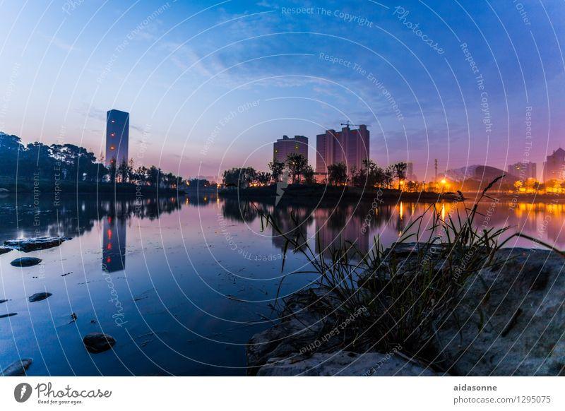 Nachts am See von Jiangyin Landschaft Nachthimmel Sommer Wildpflanze China Asien Stadt Menschenleer Haus blau ruhig Insel Reflexion & Spiegelung Hochhaus