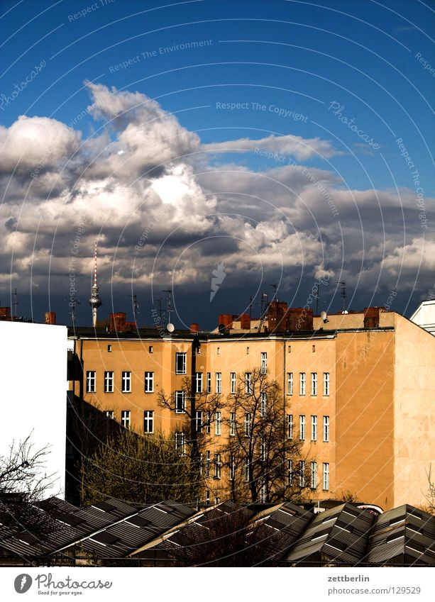 Blick vom Kreuzberg über Kreuzberg Stadt Haus Stadthaus Hinterhof Gewächshaus Baumschule Aussicht Horizont Dach Fenster Fensterfront Wolken Kumulus Berlin