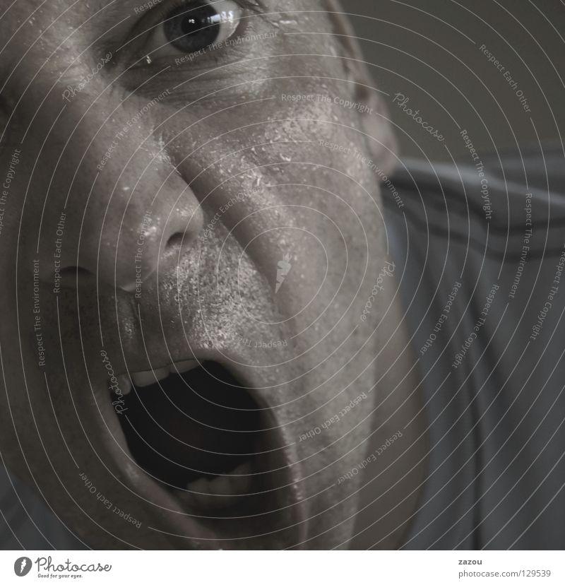 Wut Gedeckte Farben Profil Blick in die Kamera Gesicht Mensch maskulin Mann Erwachsene Auge Mund 1 30-45 Jahre schreien Konflikt & Streit Aggression bedrohlich