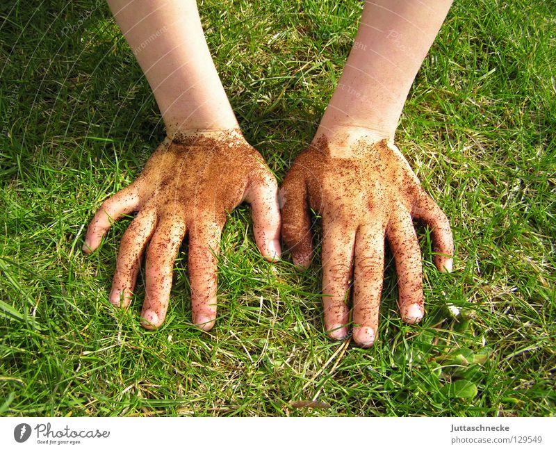 Maulwurf Hand Freude Wiese Spielen Gras Garten dreckig Finger Erde Rasen Freizeit & Hobby Flasche Gartenarbeit Gärtner Graben
