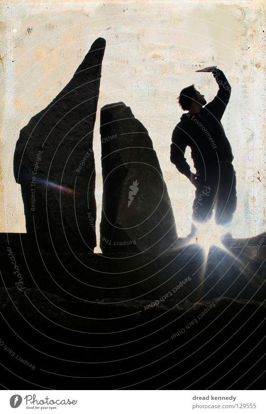 Sternfänger Mensch Mann Sonne ruhig Erwachsene Erholung Leben Stein Stil Zufriedenheit Tanzen Felsen Freizeit & Hobby Treppe Design Stern (Symbol)