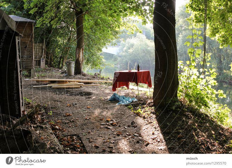 Picknick Tisch Schönes Wetter Holz frei Glück rot Zufriedenheit Tatkraft ruhig bescheiden Sehnsucht Abenteuer Beginn entdecken Freizeit & Hobby einzigartig