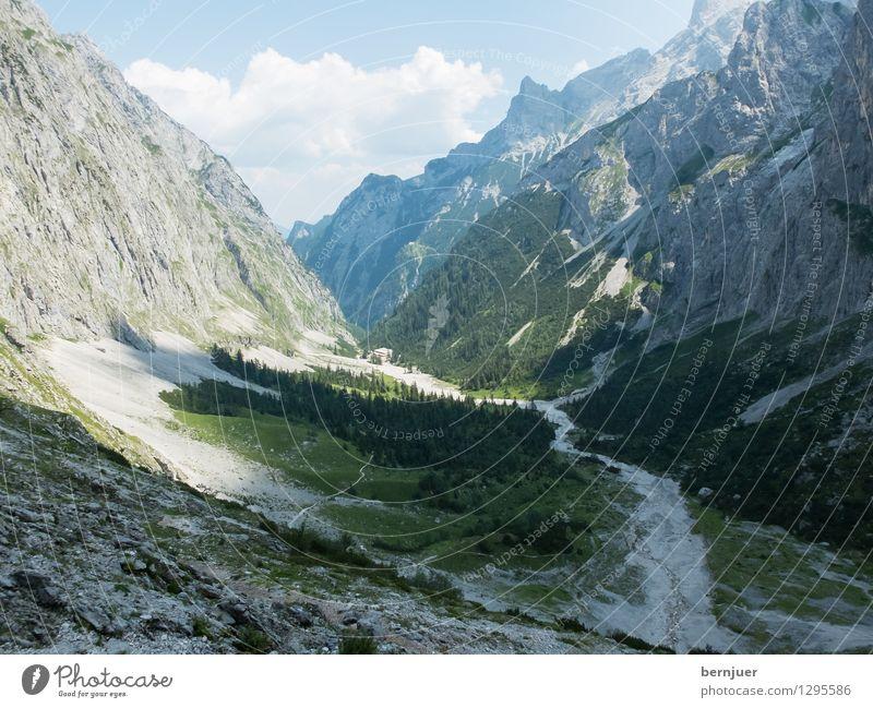 Reintal Sport Bergsteigen wandern Natur Landschaft Pflanze Luft Wolken Sommer Schönes Wetter Baum Alpen Berge u. Gebirge Gipfel gehen schön grau grün Fernweh