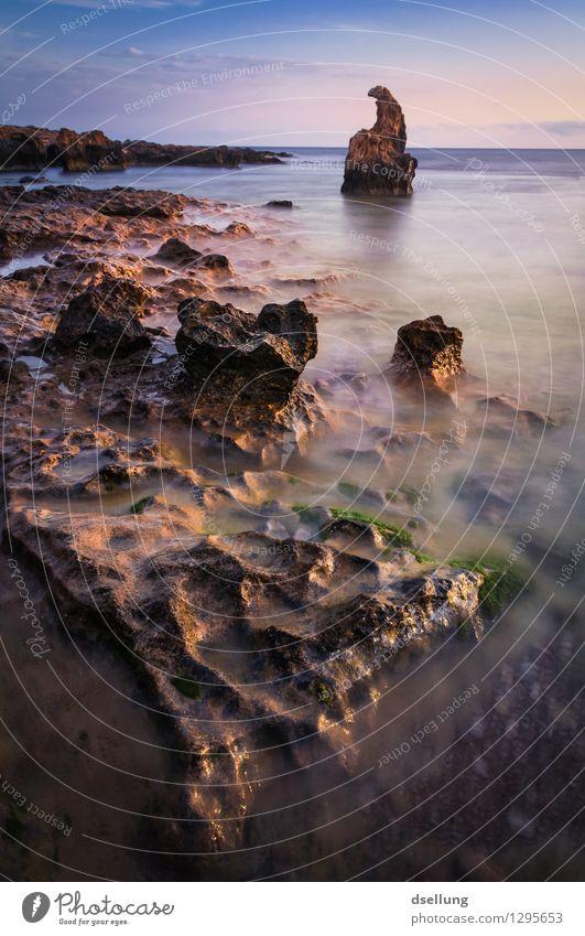 sanfte brandung II. Himmel Natur grün Wasser Meer rot Landschaft Wolken Umwelt Wärme Küste Zeit braun Felsen Horizont Wellen