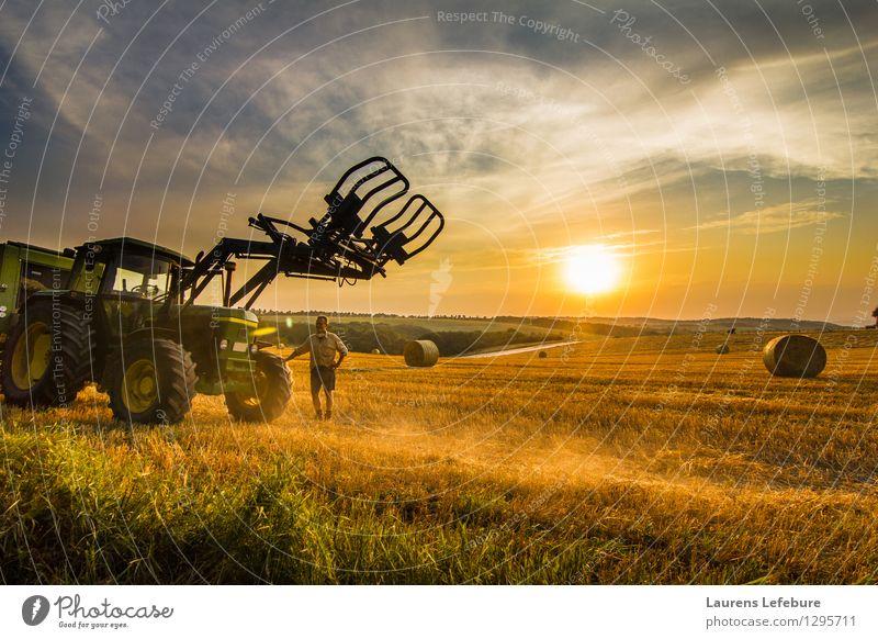 Landwirt und sein Traktor im Heufeld Mensch Natur Mann Sommer Sonne Landschaft Erwachsene gelb Glück braun Business Arbeit & Erwerbstätigkeit maskulin orange