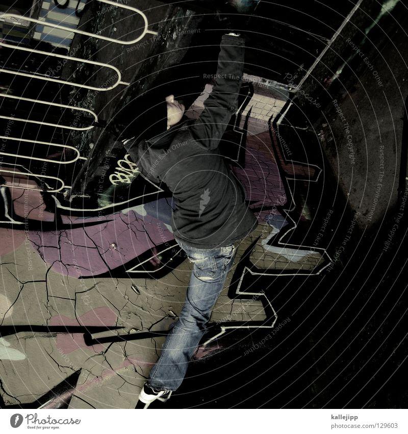 déjà vue Mann Silhouette Dieb Krimineller Rampe Laderampe Fußgänger Schacht Tunnel Untergrund Ausbruch Flucht umfallen Fenster Parkhaus Licht Geometrie